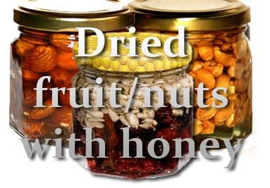 Dried fruits and nuts with honey
