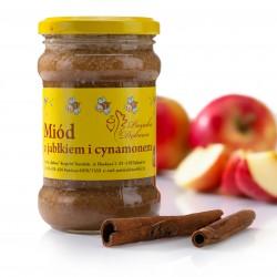 Miód kremowany o smaku szarlotki (jabłko z cynamonem). Masa netto 400g