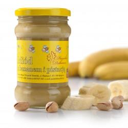 Miód kremowany z bananem i pistacją, masa netto 400g.