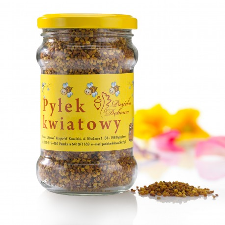 Pyłek kwiatowy (obnóża)- masa netto: 190g.