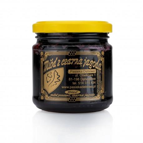 Czarna jagoda w miodzie- masa netto 210g.